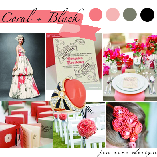 Inspiration Board | Coral & Black - Jen Rios Weddings